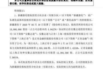 惠伦晶体联想控股部属公司受让公司5.94%股份